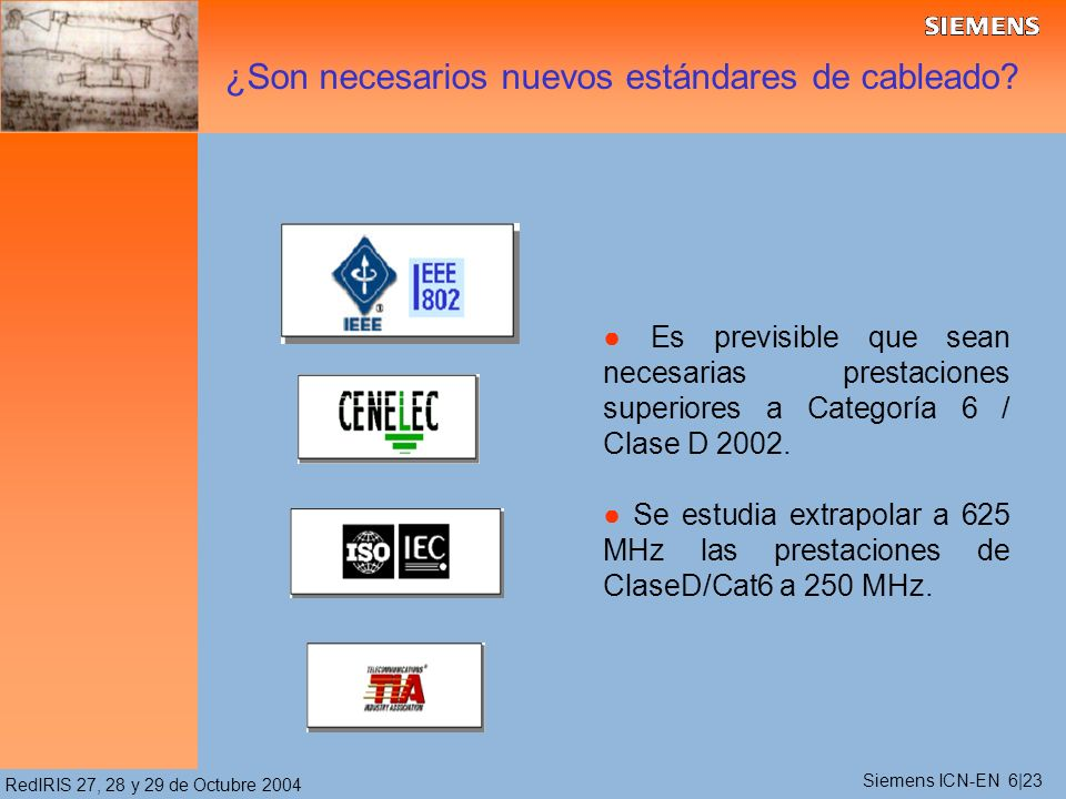 RedIRIS 27, 28 y 29 de Octubre 2004 Es previsible que sean necesarias prestaciones superiores a Categoría 6 / Clase D 2002. Se estudia extrapolar a 62