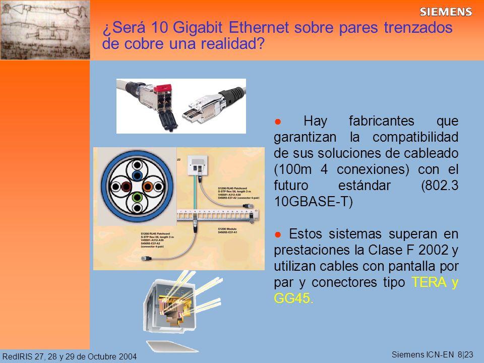 RedIRIS 27, 28 y 29 de Octubre 2004 ¿Será 10 Gigabit Ethernet sobre pares trenzados de cobre una realidad? Hay fabricantes que garantizan la compatibi