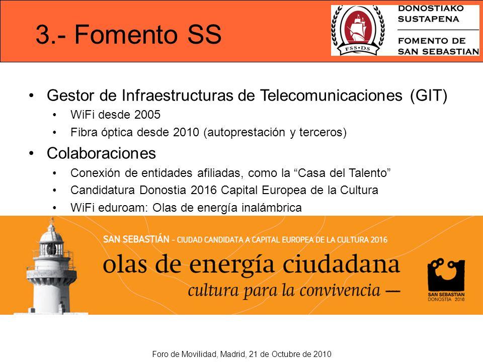 3.- Fomento SS Gestor de Infraestructuras de Telecomunicaciones (GIT) WiFi desde 2005 Fibra óptica desde 2010 (autoprestación y terceros) Colaboraciones Conexión de entidades afiliadas, como la Casa del Talento Candidatura Donostia 2016 Capital Europea de la Cultura WiFi eduroam: Olas de energía inalámbrica Foro de Movilidad, Madrid, 21 de Octubre de 2010