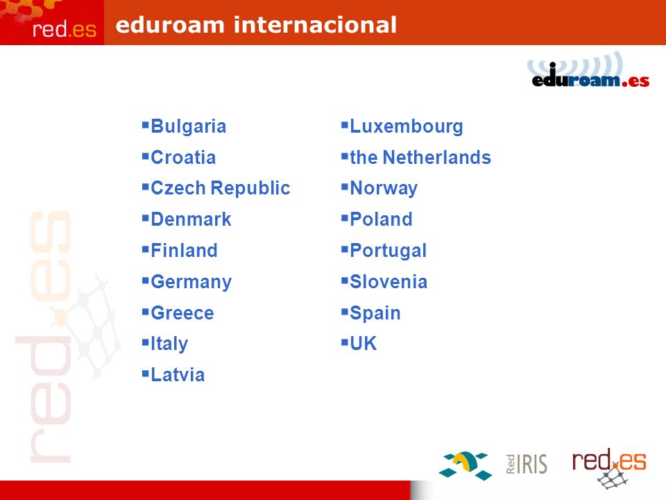 eduroam internacional Bulgaria Croatia Czech Republic Denmark Finland Germany Greece Italy Latvia Luxembourg the Netherlands Norway Poland Portugal Sl