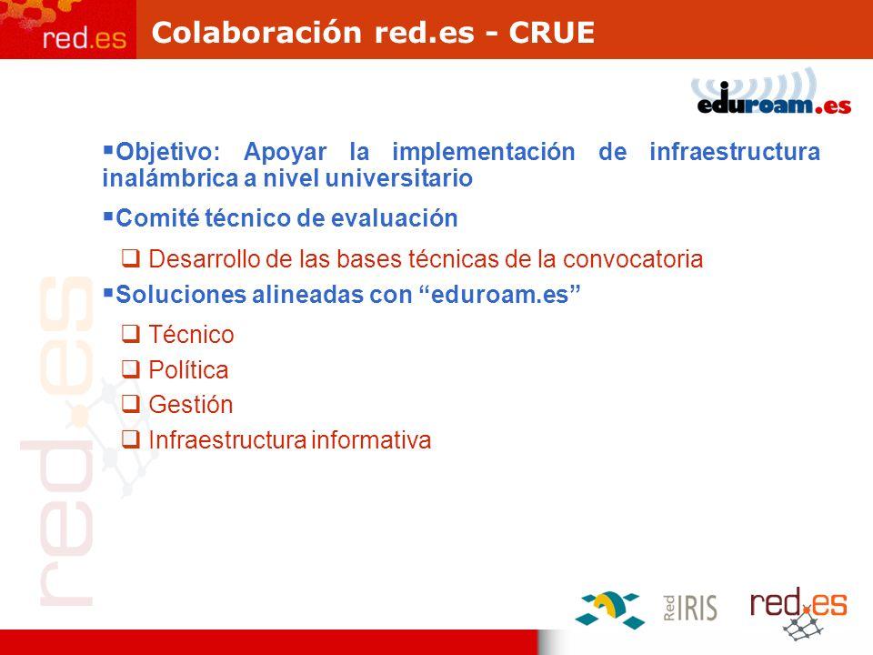 Colaboración red.es - CRUE Objetivo: Apoyar la implementación de infraestructura inalámbrica a nivel universitario Comité técnico de evaluación Desarr