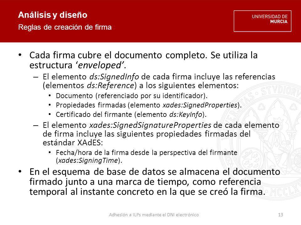 Análisis y diseño La firma es válida según el estándar XMLDSIG (XML Digital Signature).