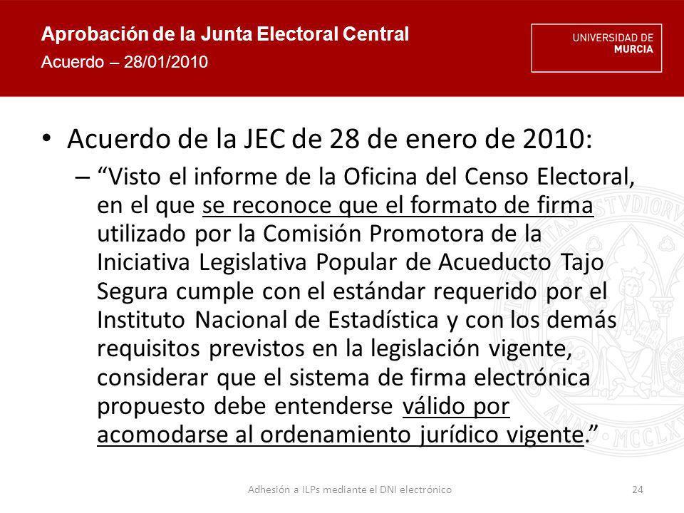 Capturas de la aplicación Página inicial 25 https://www.defendemoseltrasvase.es/rio_firmas/bienvenida.seam Adhesión a ILPs mediante el DNI electrónico