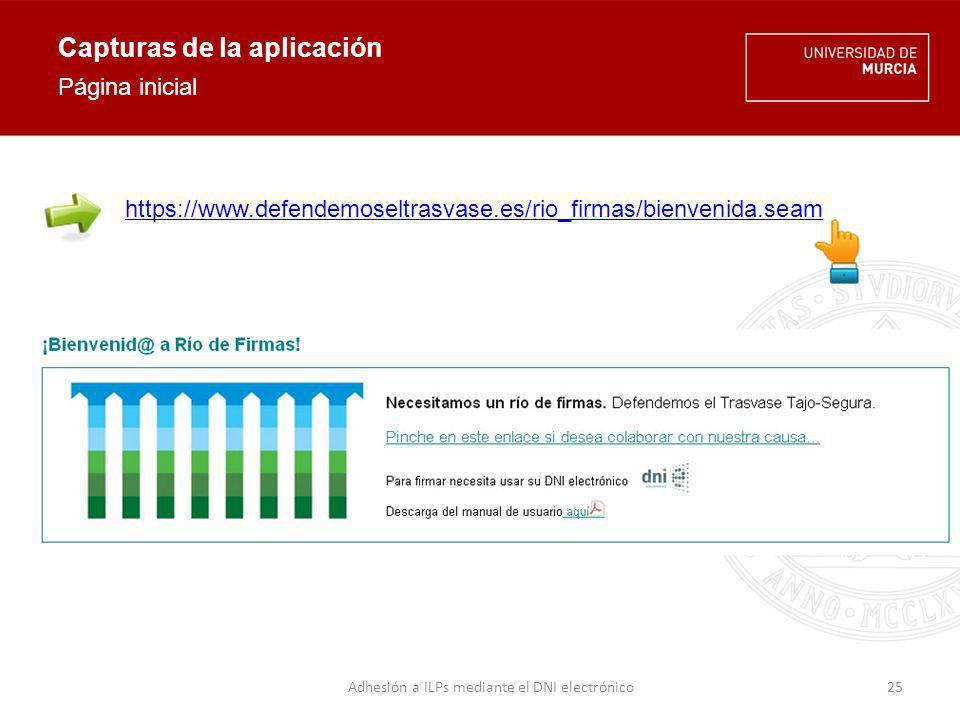 Capturas de la aplicación Recopilación de datos del firmante 26Adhesión a ILPs mediante el DNI electrónico