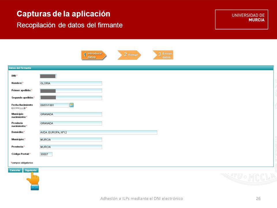 Capturas de la aplicación Firma electrónica con DNIe 27Adhesión a ILPs mediante el DNI electrónico