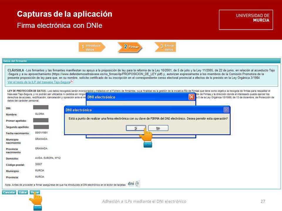 Archivo ILP trasvase Tajo-Segura Capturas de la aplicación Envío de datos firmados 28Adhesión a ILPs mediante el DNI electrónico