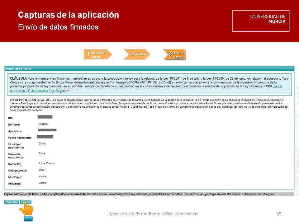Capturas de la aplicación Perfil de administración 29Adhesión a ILPs mediante el DNI electrónico