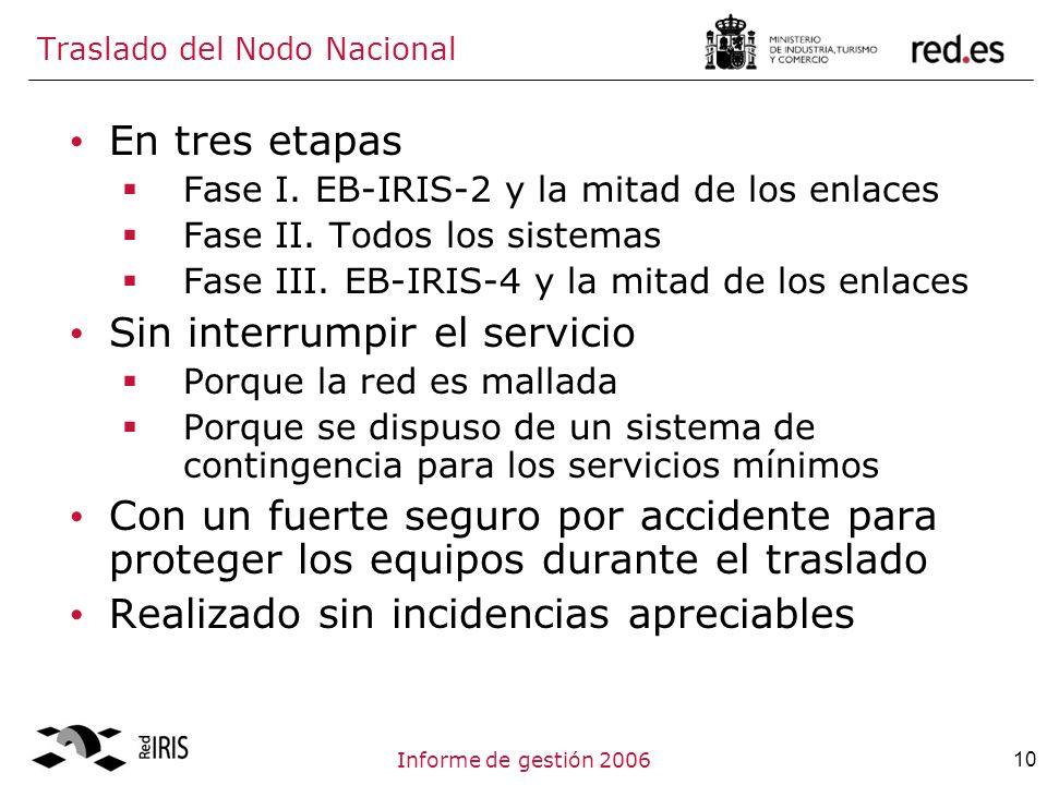 10Informe de gestión 2006 Traslado del Nodo Nacional En tres etapas Fase I.