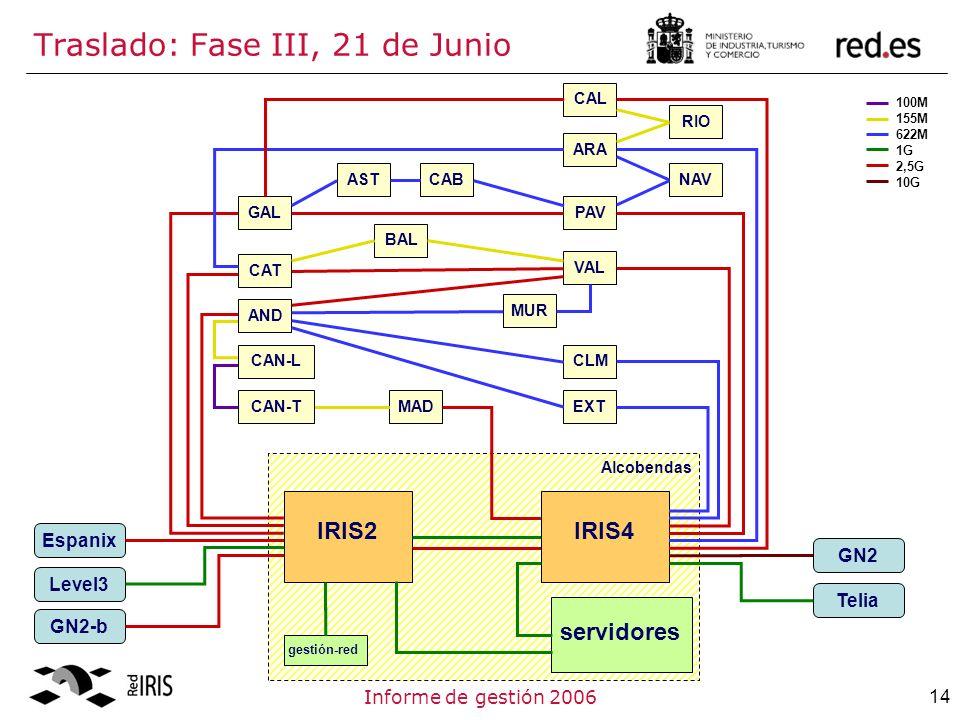 14Informe de gestión 2006 Traslado: Fase III, 21 de Junio