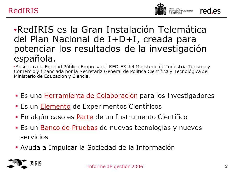 2Informe de gestión 2006 RedIRIS RedIRIS es la Gran Instalación Telemática del Plan Nacional de I+D+I, creada para potenciar los resultados de la investigación española.