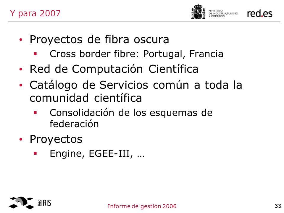 33Informe de gestión 2006 Y para 2007 Proyectos de fibra oscura Cross border fibre: Portugal, Francia Red de Computación Científica Catálogo de Servicios común a toda la comunidad científica Consolidación de los esquemas de federación Proyectos Engine, EGEE-III, …