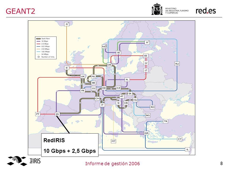 8Informe de gestión 2006 GEANT2 RedIRIS 10 Gbps + 2,5 Gbps