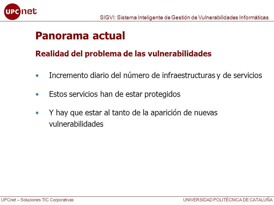 UPCnet – Soluciones TIC Corporativas UNIVERSIDAD POLITÉCNICA DE CATALUÑA SIGVI: Sistema Inteligente de Gestión de Vulnerabilidades Informáticas Panora