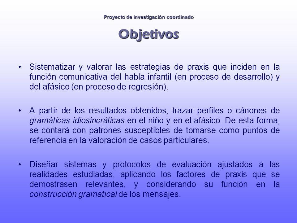Proyecto de investigación coordinado Objetivos Sistematizar y valorar las estrategias de praxis que inciden en la función comunicativa del habla infan