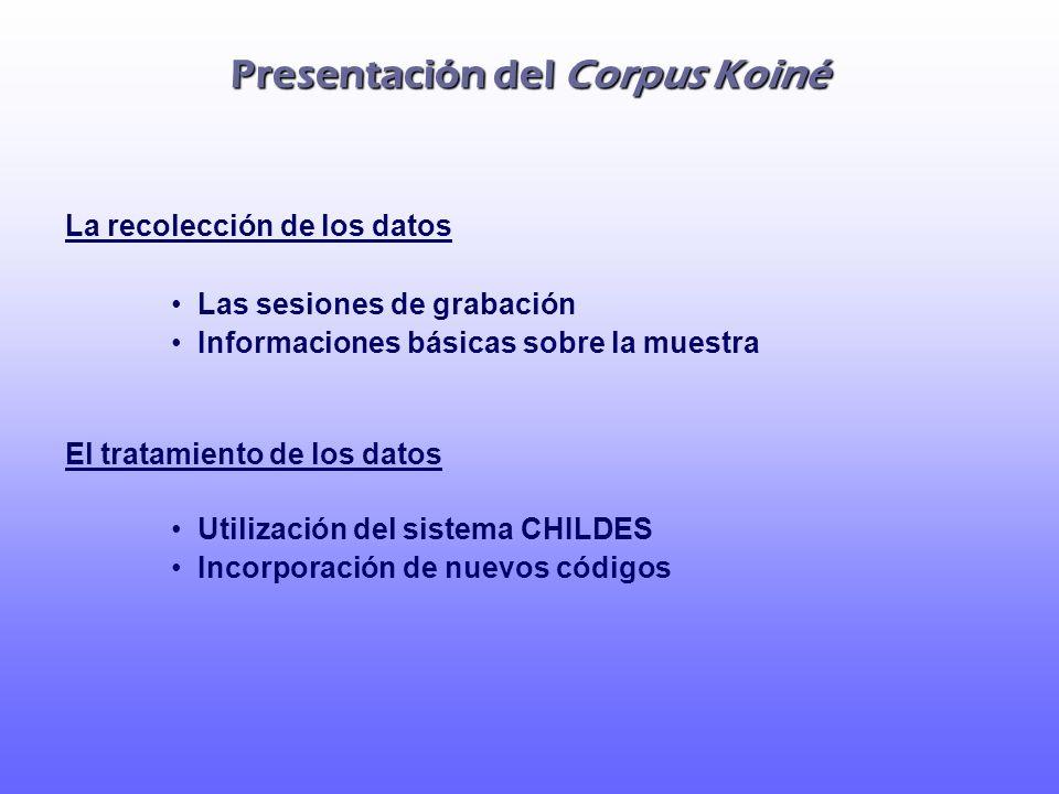 Presentación del Corpus Koiné La recolección de los datos Las sesiones de grabación Informaciones básicas sobre la muestra El tratamiento de los datos