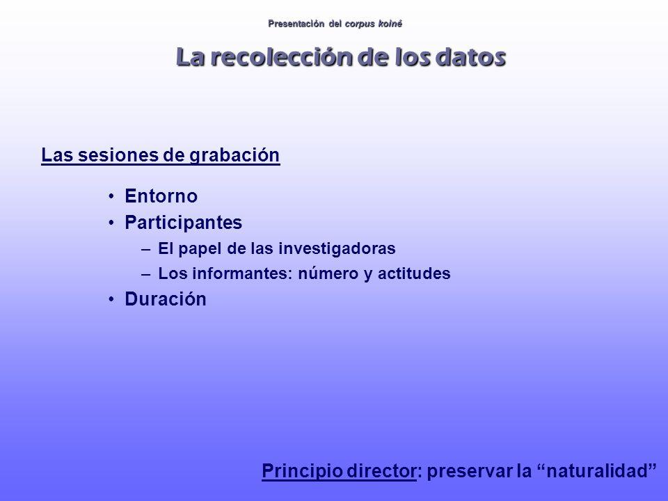 Presentación del corpus koiné La recolección de los datos Las sesiones de grabación Entorno Participantes –El papel de las investigadoras –Los informa
