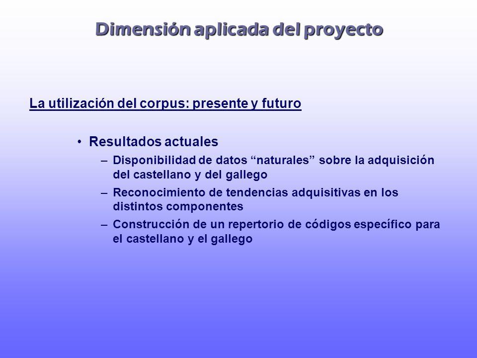 Dimensión aplicada del proyecto La utilización del corpus: presente y futuro Resultados actuales –Disponibilidad de datos naturales sobre la adquisici