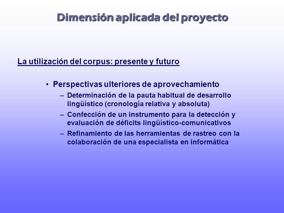 Dimensión aplicada del proyecto La utilización del corpus: presente y futuro Perspectivas ulteriores de aprovechamiento –Determinación de la pauta hab