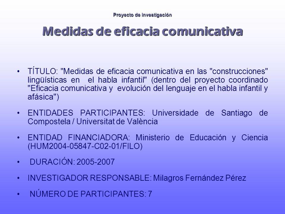 Proyecto de investigación Fases anteriores (1997-2004) 1997-1999: Elaboración de un test (lingüístico) para evaluar déficits fónicos en edad infantil (XUGA20402A97).