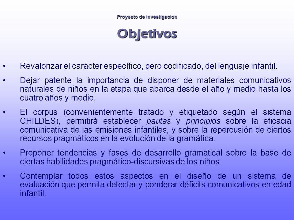 Proyecto de investigación Objetivos Revalorizar el carácter específico, pero codificado, del lenguaje infantil. Dejar patente la importancia de dispon