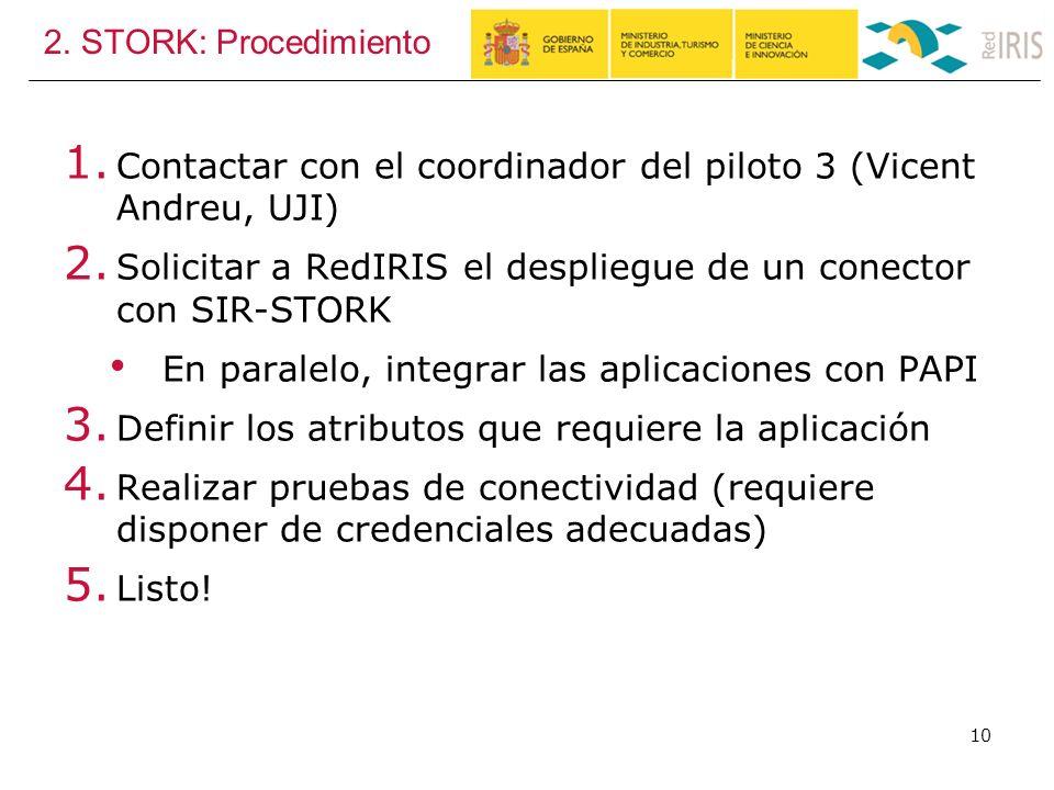 2. STORK: Procedimiento 1. Contactar con el coordinador del piloto 3 (Vicent Andreu, UJI) 2.