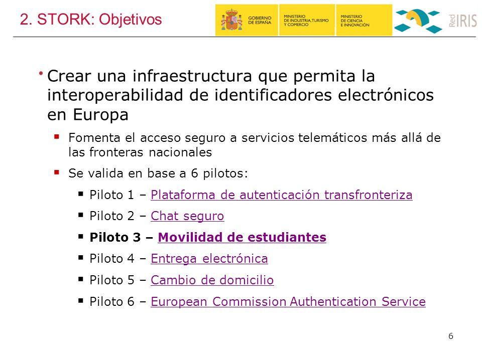 2. STORK: Objetivos Crear una infraestructura que permita la interoperabilidad de identificadores electrónicos en Europa Fomenta el acceso seguro a se