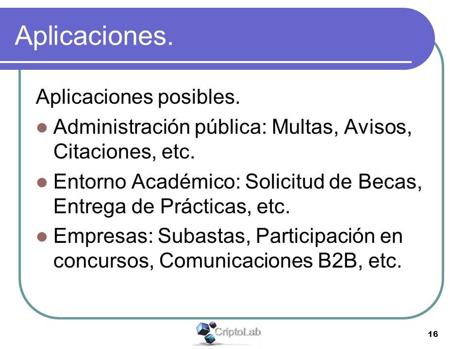 16 Aplicaciones. Aplicaciones posibles. Administración pública: Multas, Avisos, Citaciones, etc. Entorno Académico: Solicitud de Becas, Entrega de Prá