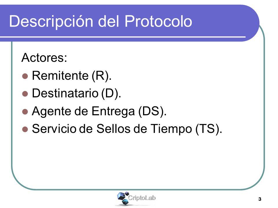 3 Descripción del Protocolo Actores: Remitente (R). Destinatario (D). Agente de Entrega (DS). Servicio de Sellos de Tiempo (TS).