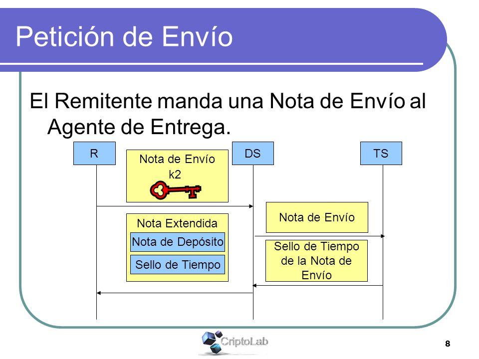 8 Petición de Envío El Remitente manda una Nota de Envío al Agente de Entrega.