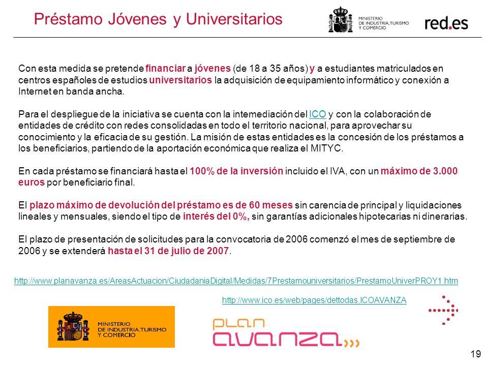 19 http://www.planavanza.es/AreasActuacion/CiudadaniaDigital/Medidas/7Prestamouniversitarios/PrestamoUniverPROY1.htm Préstamo Jóvenes y Universitarios