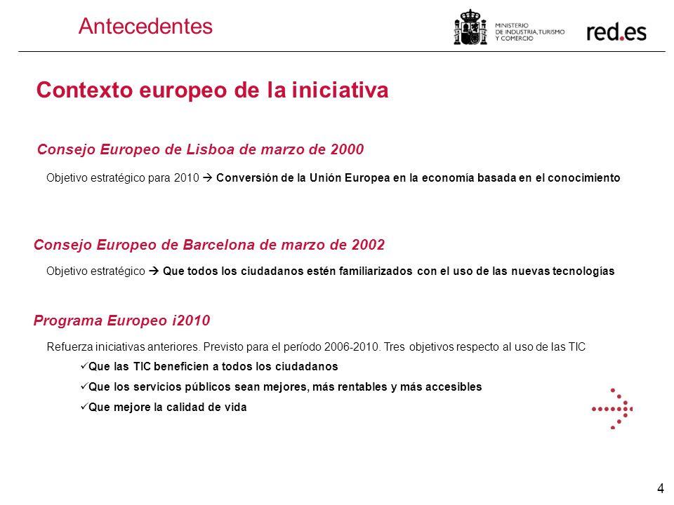 4 Antecedentes Contexto europeo de la iniciativa Consejo Europeo de Lisboa de marzo de 2000 Objetivo estratégico para 2010 Conversión de la Unión Euro