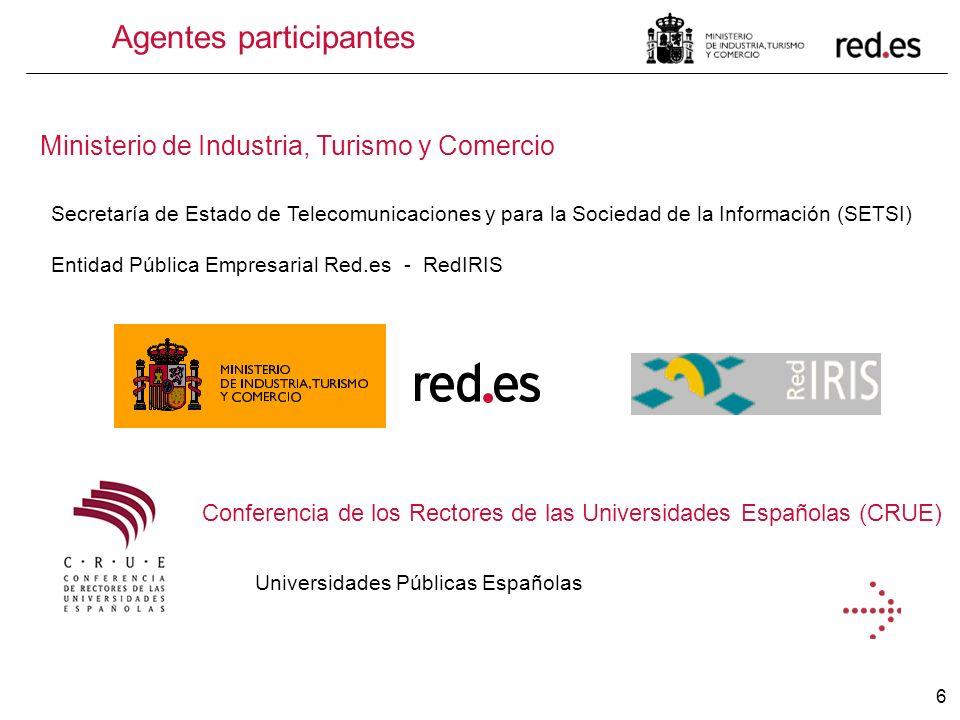 6 Agentes participantes Ministerio de Industria, Turismo y Comercio Secretaría de Estado de Telecomunicaciones y para la Sociedad de la Información (S