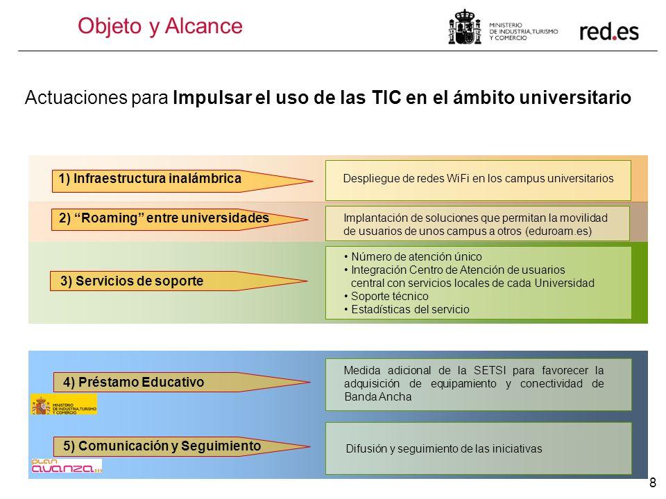 8 1) Infraestructura inalámbrica Despliegue de redes WiFi en los campus universitarios 2) Roaming entre universidades Implantación de soluciones que p