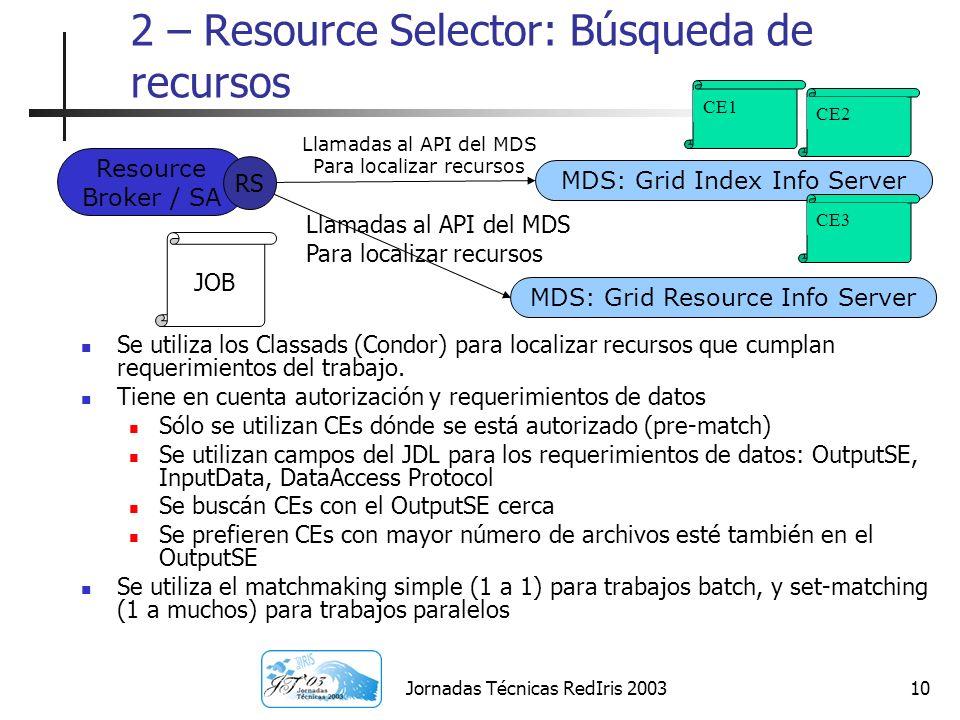 Jornadas Técnicas RedIris 200310 2 – Resource Selector: Búsqueda de recursos Se utiliza los Classads (Condor) para localizar recursos que cumplan requ