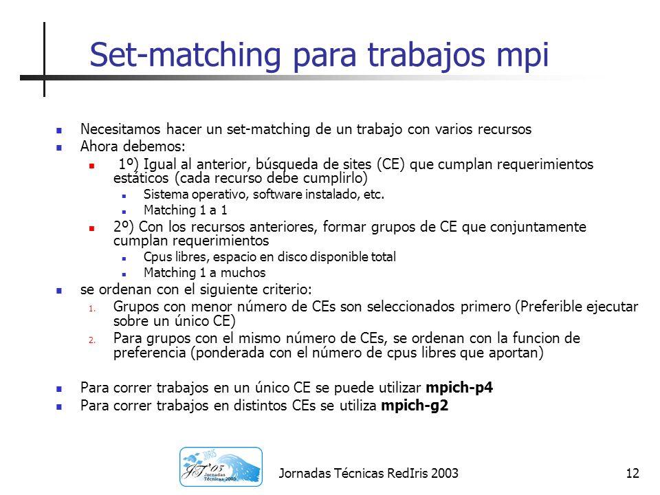 Jornadas Técnicas RedIris 200312 Set-matching para trabajos mpi Necesitamos hacer un set-matching de un trabajo con varios recursos Ahora debemos: 1º)