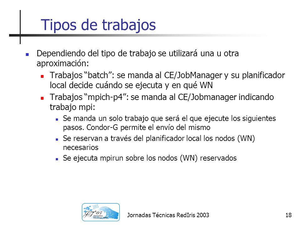 Jornadas Técnicas RedIris 200318 Tipos de trabajos Dependiendo del tipo de trabajo se utilizará una u otra aproximación: Trabajos batch: se manda al C
