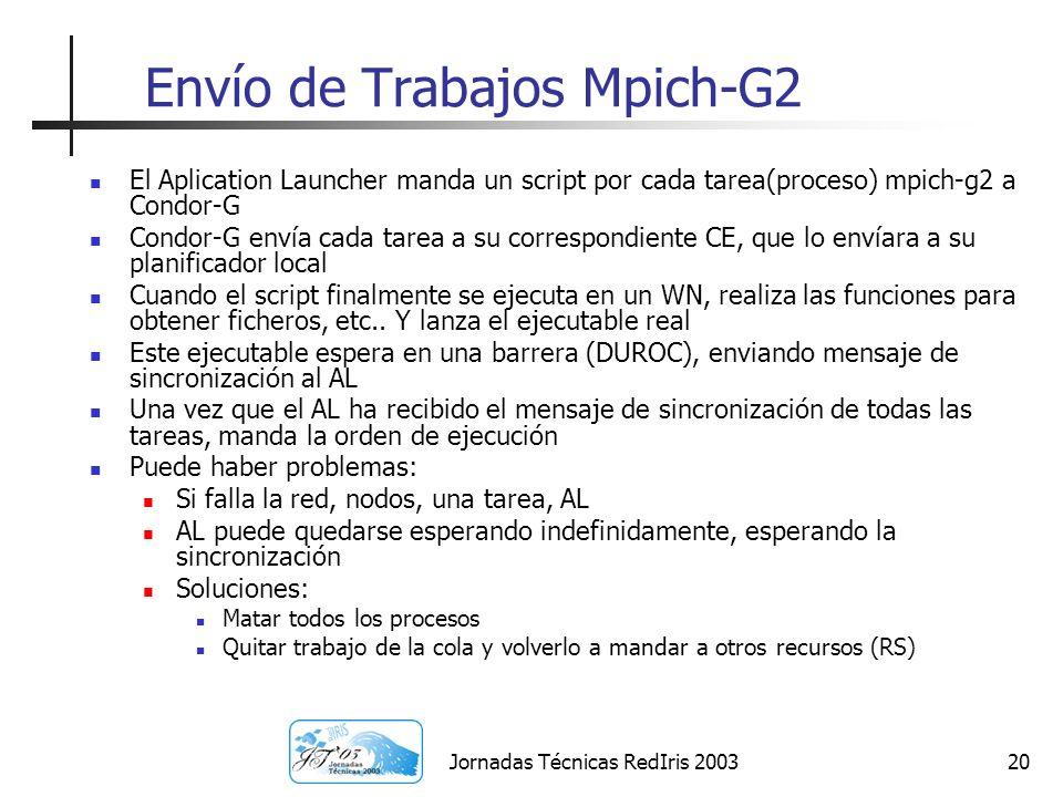 Jornadas Técnicas RedIris 200320 Envío de Trabajos Mpich-G2 El Aplication Launcher manda un script por cada tarea(proceso) mpich-g2 a Condor-G Condor-