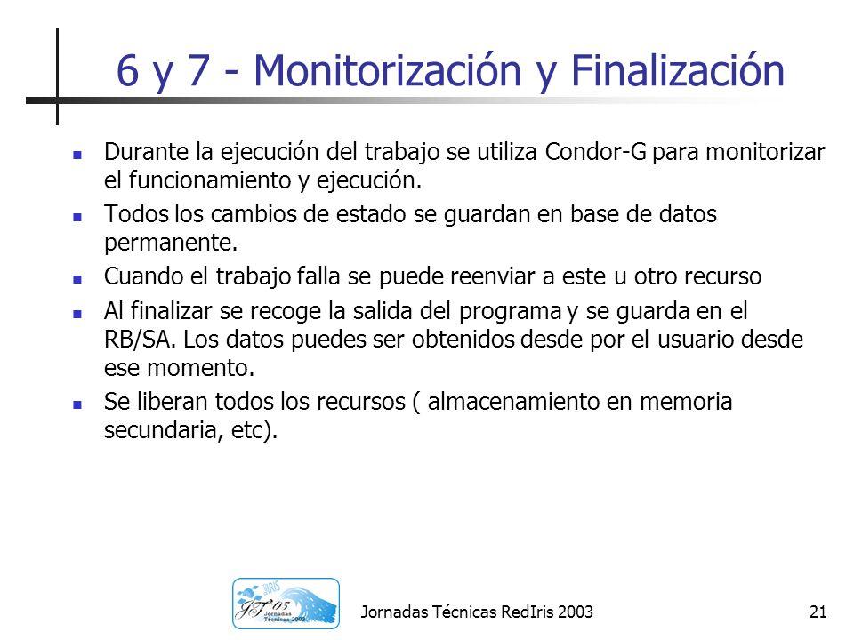 Jornadas Técnicas RedIris 200321 6 y 7 - Monitorización y Finalización Durante la ejecución del trabajo se utiliza Condor-G para monitorizar el funcio
