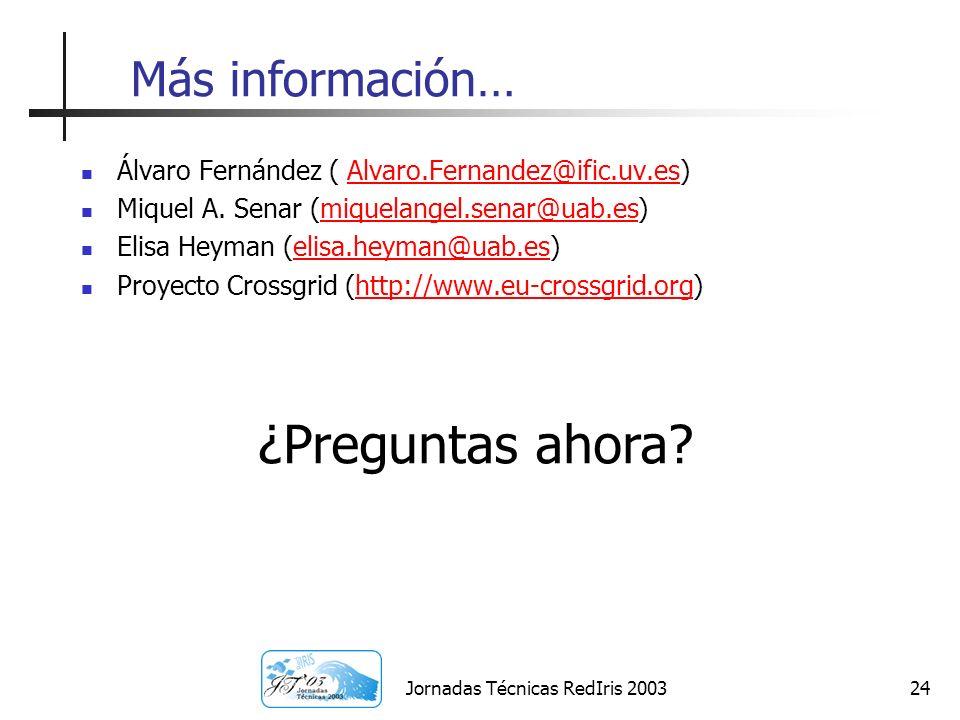 Jornadas Técnicas RedIris 200324 Más información… Álvaro Fernández ( Alvaro.Fernandez@ific.uv.es)Alvaro.Fernandez@ific.uv.es Miquel A. Senar (miquelan