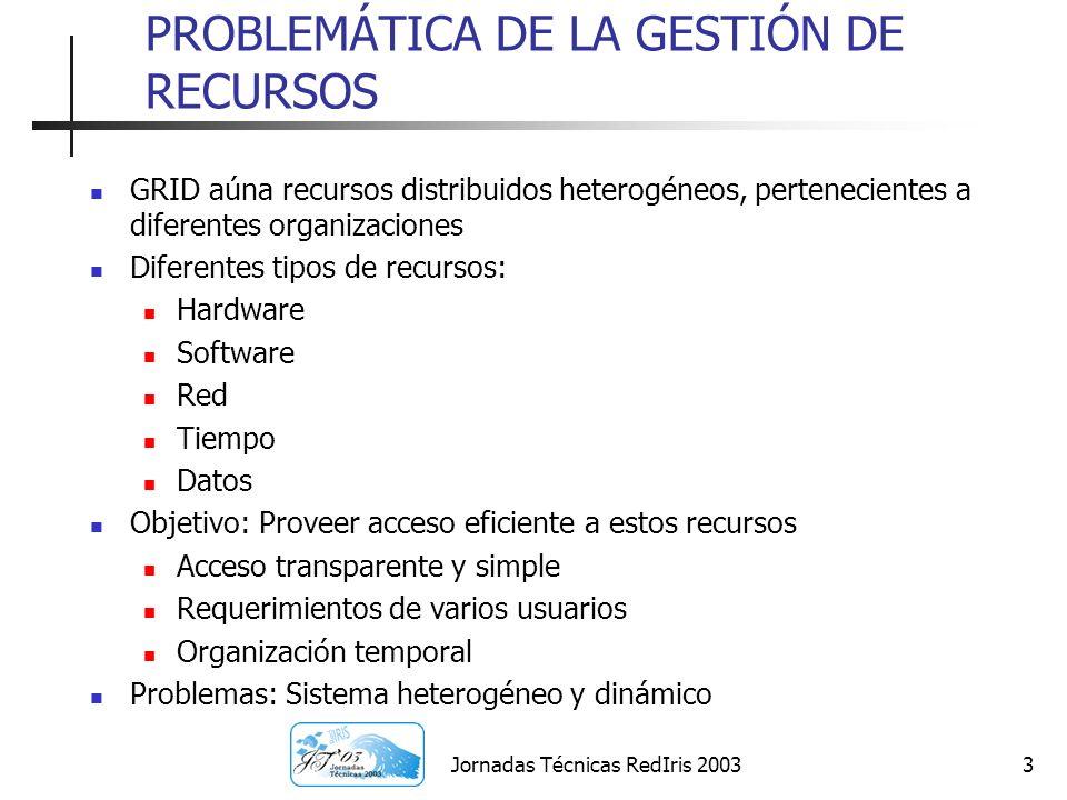 Jornadas Técnicas RedIris 20033 PROBLEMÁTICA DE LA GESTIÓN DE RECURSOS GRID aúna recursos distribuidos heterogéneos, pertenecientes a diferentes organ
