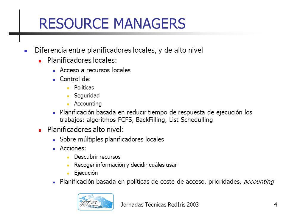 Jornadas Técnicas RedIris 20035 SERVICIOS PARA LA GESTIÓN DE RECURSOS Para soportar la gestión de recursos los planificadores de alto nivel, se valen de servicios en forma de middleware: Acceso a los recursos/planificadores locales (GRAM) Sistemas de información (GIS, MDS, GMA) Por encima de estos: Resource Brokers (Datagrid WMS) Selección de recursos: Matchmaking Envío de Trabajos: Job Submission Service Base de datos de trabajos: Logging and bookeeping Scheduling Agents Decisiones de planificación dependiendo de requerimientos estáticos y dinámicos Ampliación de selección de recursos