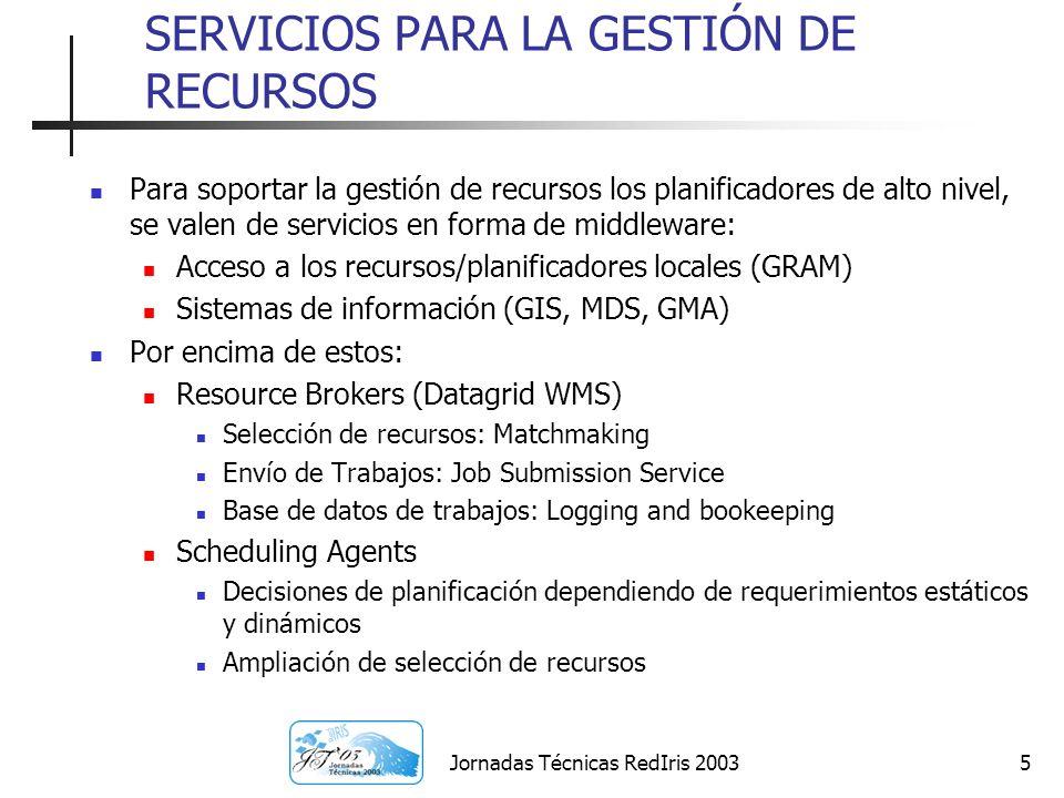 Jornadas Técnicas RedIris 20035 SERVICIOS PARA LA GESTIÓN DE RECURSOS Para soportar la gestión de recursos los planificadores de alto nivel, se valen