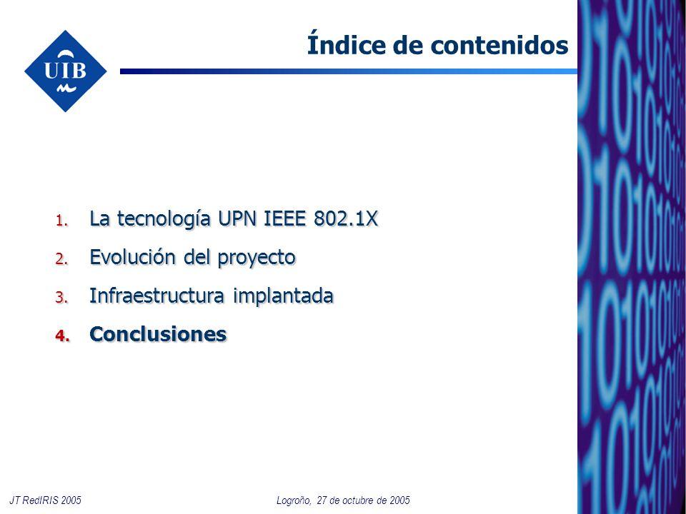 19 Logroño, 27 de octubre de 2005JT RedIRIS 2005 Índice de contenidos 1. La tecnología UPN IEEE 802.1X 2. Evolución del proyecto 3. Infraestructura im