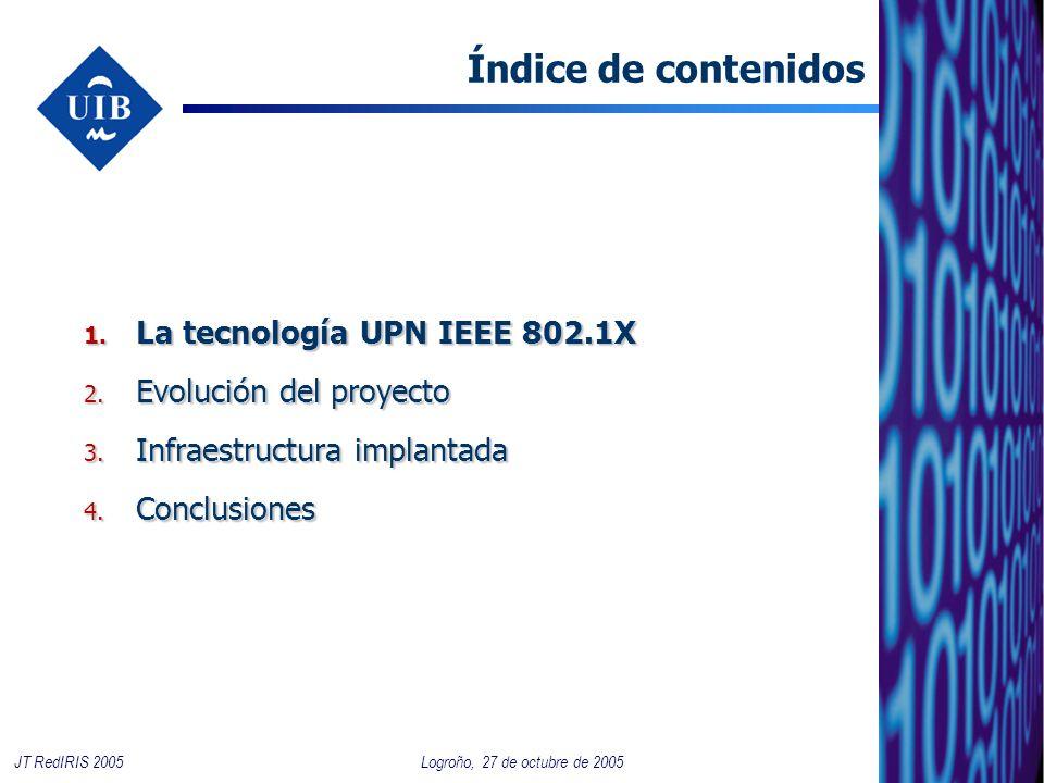 2 JT RedIRIS 2005 Índice de contenidos 1. La tecnología UPN IEEE 802.1X 2. Evolución del proyecto 3. Infraestructura implantada 4. Conclusiones