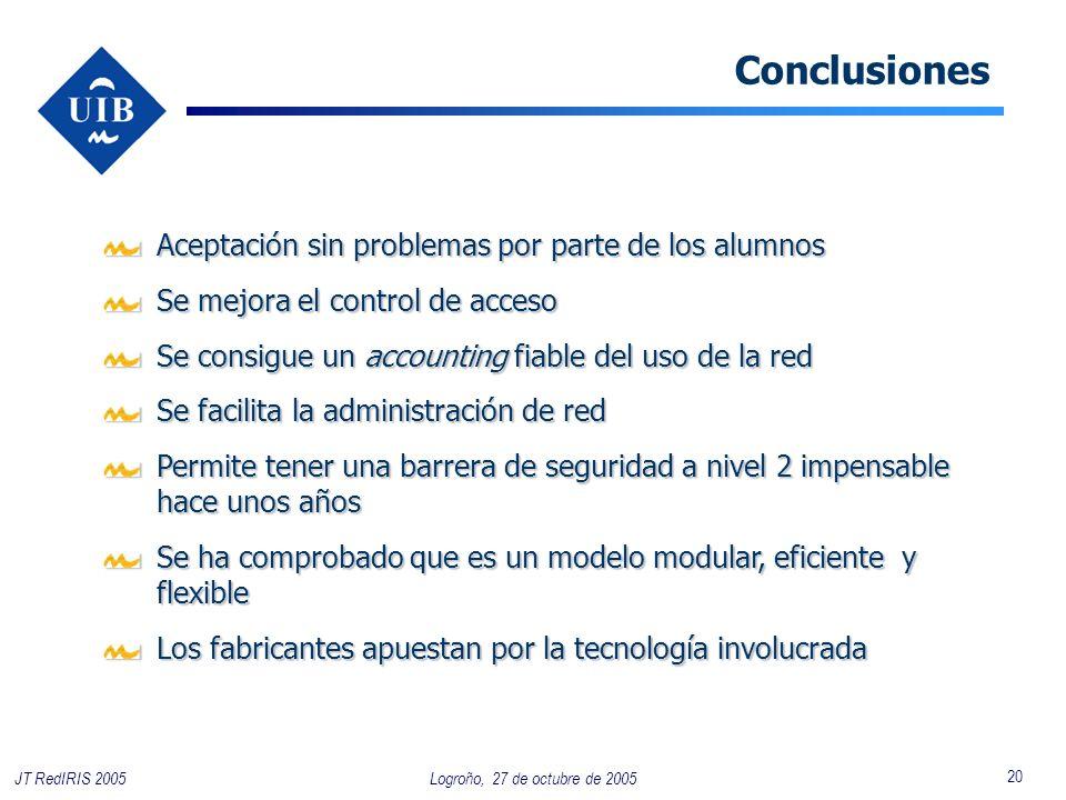 20 Logroño, 27 de octubre de 2005JT RedIRIS 2005 Conclusiones Aceptación sin problemas por parte de los alumnos Se mejora el control de acceso Se cons