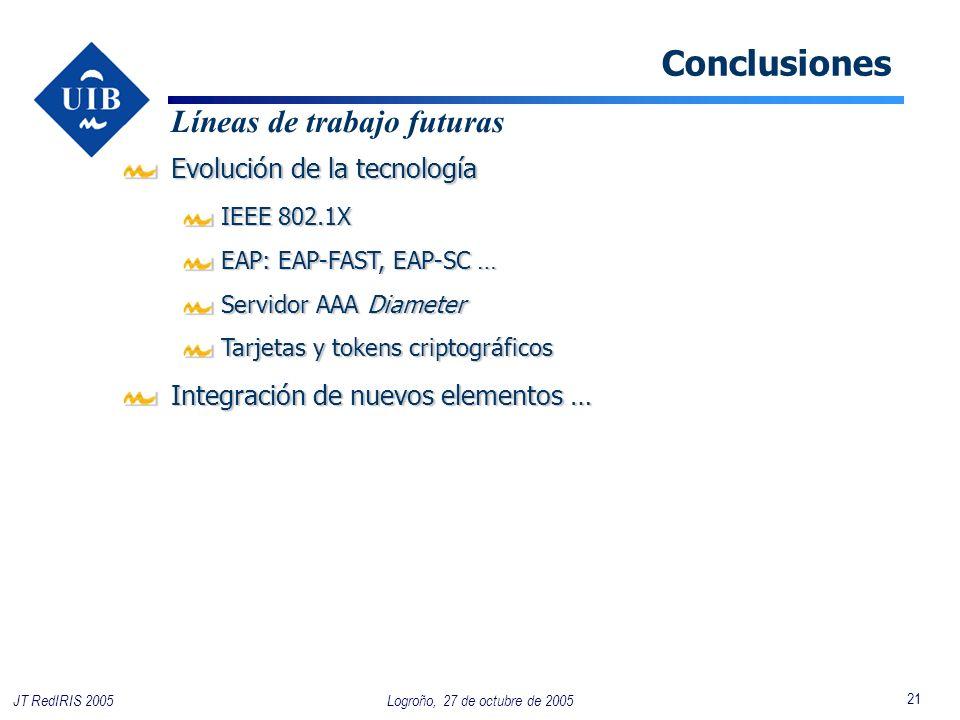 21 Logroño, 27 de octubre de 2005JT RedIRIS 2005 Conclusiones Evolución de la tecnología IEEE 802.1X IEEE 802.1X EAP: EAP-FAST, EAP-SC … EAP: EAP-FAST, EAP-SC … Servidor AAA Diameter Servidor AAA Diameter Tarjetas y tokens criptográficos Tarjetas y tokens criptográficos Líneas de trabajo futuras Integración de nuevos elementos …