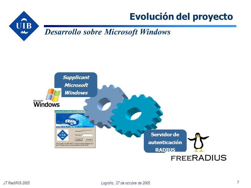 7 Logroño, 27 de octubre de 2005JT RedIRIS 2005 Evolución del proyecto Desarrollo sobre Microsoft Windows Servidor de autenticación RADIUS RADIUS freeRADIUS Supplicant Microsoft Windows
