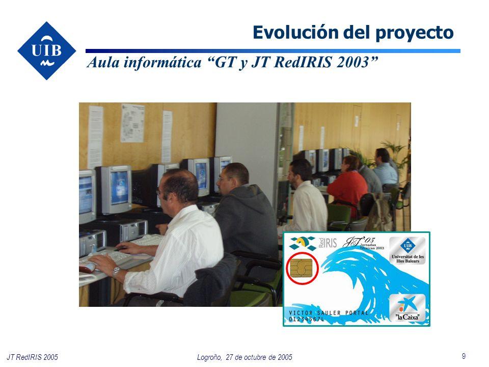 9 Logroño, 27 de octubre de 2005JT RedIRIS 2005 Evolución del proyecto Aula informática GT y JT RedIRIS 2003