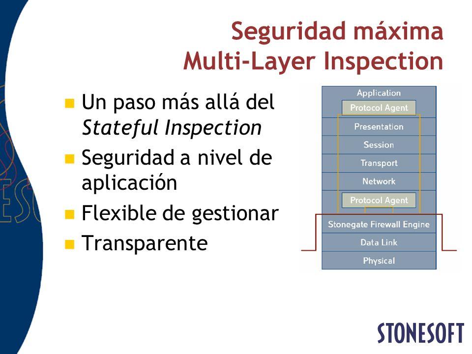 Seguridad máxima Multi-Layer Inspection Un paso más allá del Stateful Inspection Seguridad a nivel de aplicación Flexible de gestionar Transparente