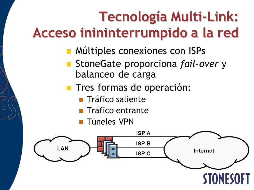 Tecnología Multi-Link: Acceso inininterrumpido a la red Múltiples conexiones con ISPs StoneGate proporciona fail-over y balanceo de carga Tres formas